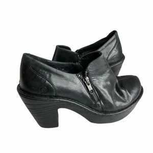 Born Womens Famke Ankle Booties Black Block Heel 7
